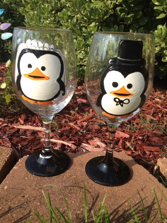 Penguin Bride and Groom Wedding  Wine Glass