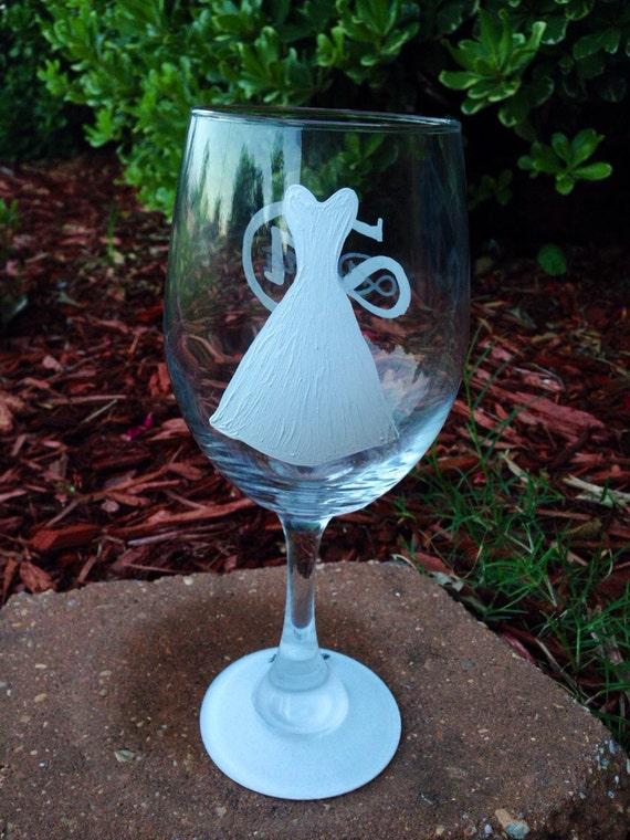 Bride wedding dress wineglass with monogram name  wine glass set