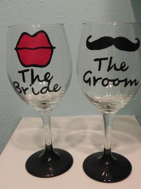 Custom Bride and Groom Wine Glass