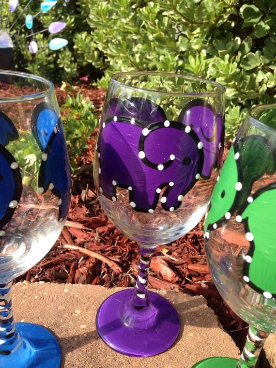 Purple Elephant Painted Wine glass