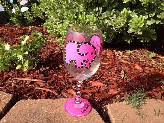 Pink Elephant Painted Wine glass Elephant Lover Animal Lover Cool Wineglass Awesome Wineglass Housewarming gift