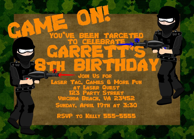 Laser Tag Birthday Party Invitation, Laser Tag Party Invitation ...