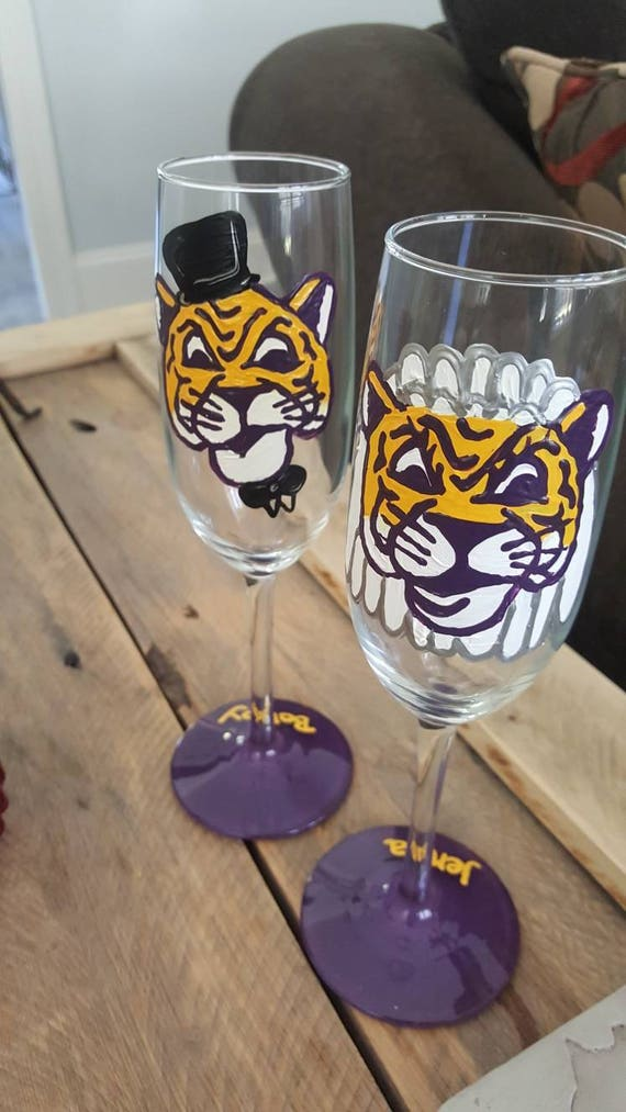 LSU wedding glasses Mike the Tiger Wedding toasting flutes