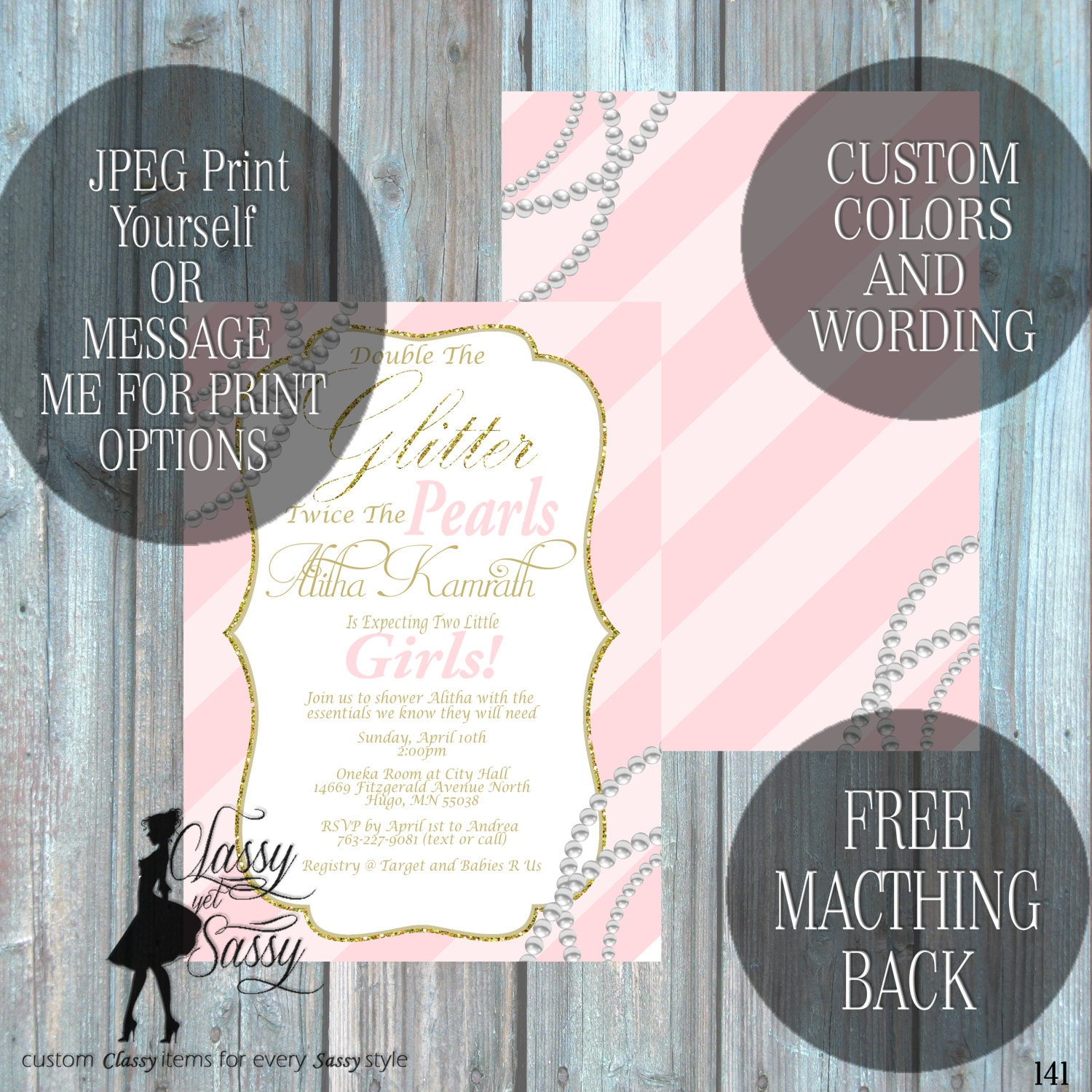 Twin Girls Baby Shower Invitation Double The Glitter Double The