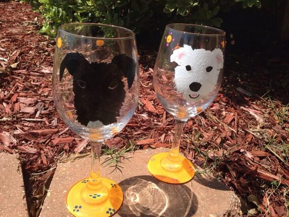 Giant Schnauzer Dog Lover Animal Lover Miniature schnauzer mini schnauzer dog Custom painted pet wineglass