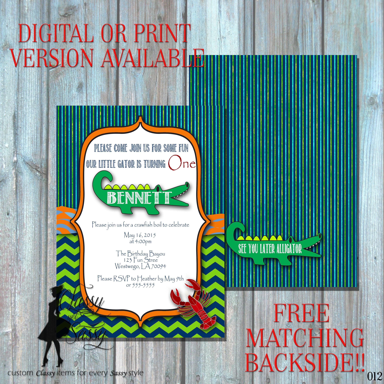 Alligator Birthday Invitation Crawfish Invitation Swamp Theme