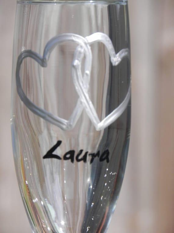 Interlocking Hearts  Champagne Flutes