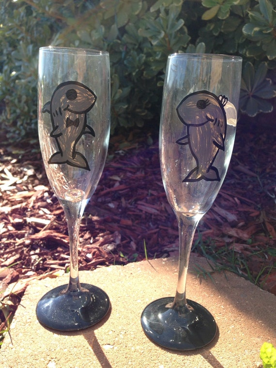 Shark wedding flutes bridal shower flutes toasting flutes