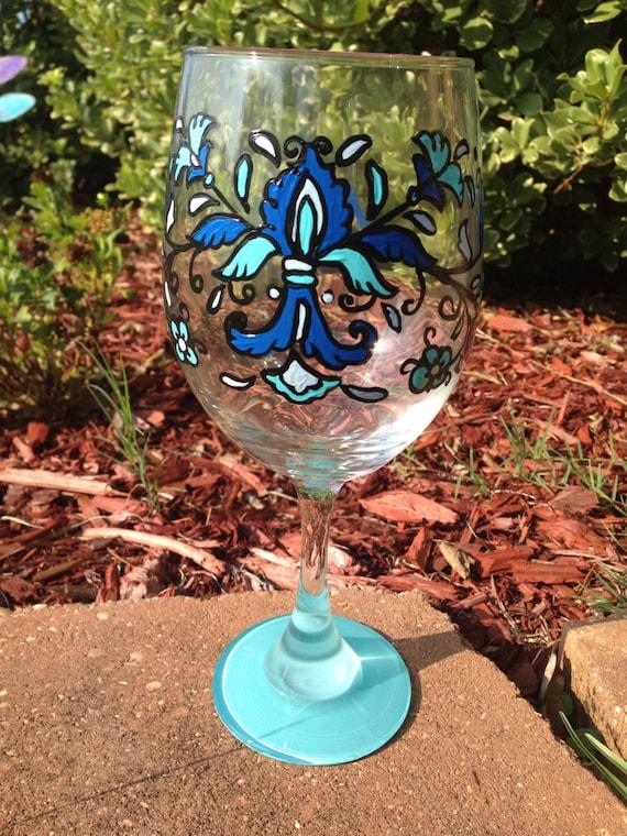 Feather Fleur de lis Wine Glass Blue french inspired fancy wineglass peacock bird feathers