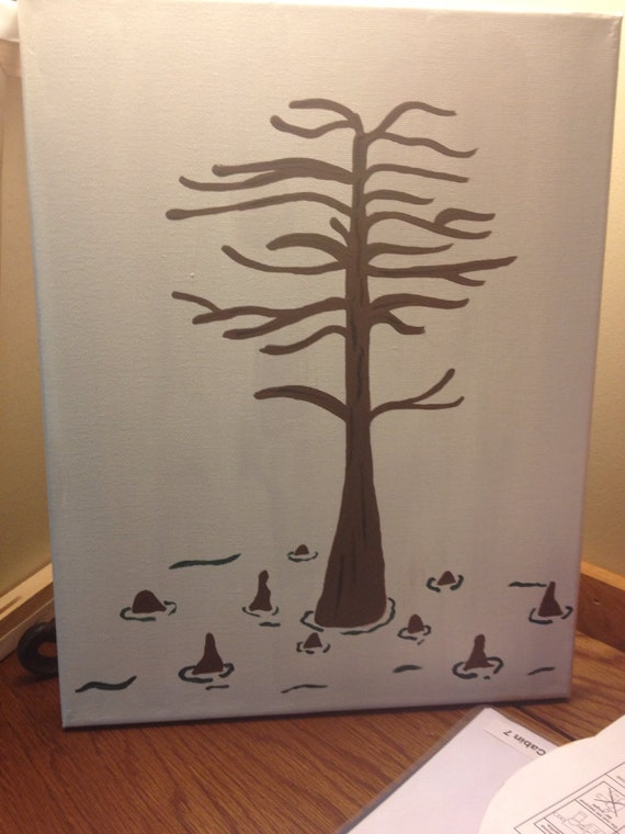 Wedding or shower Guest Book alternative fingerprint stamp tree