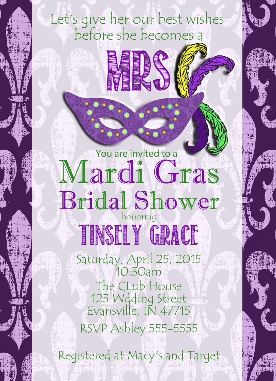 Mardi Gras Bridal Shower Invitations Images - Invitation Templates ...