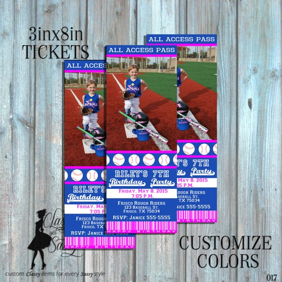 Softball  invitation -girl baseball birthday invite- softball ticket invitation - girls invitation - DIY Printable invitation-017-2