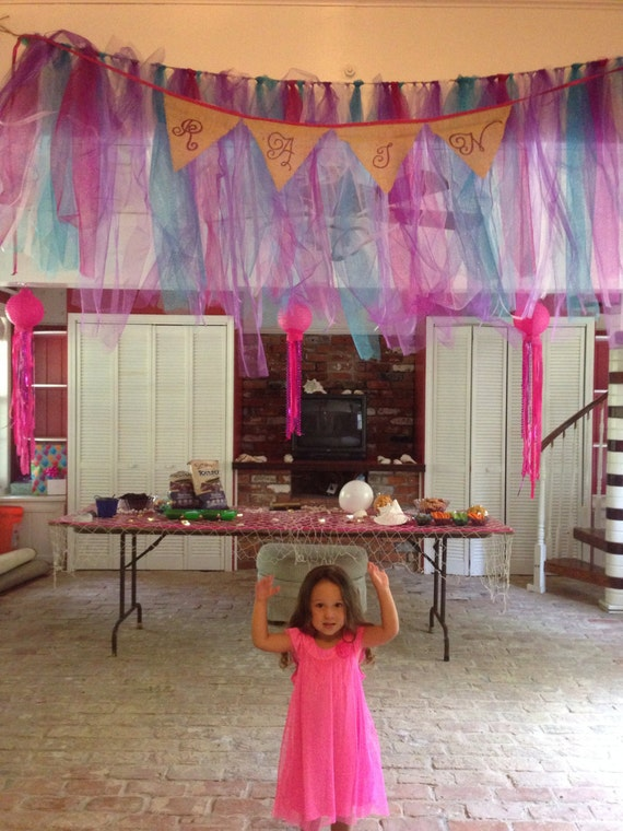 Birthday party streamer Banner made with tulle customized with name