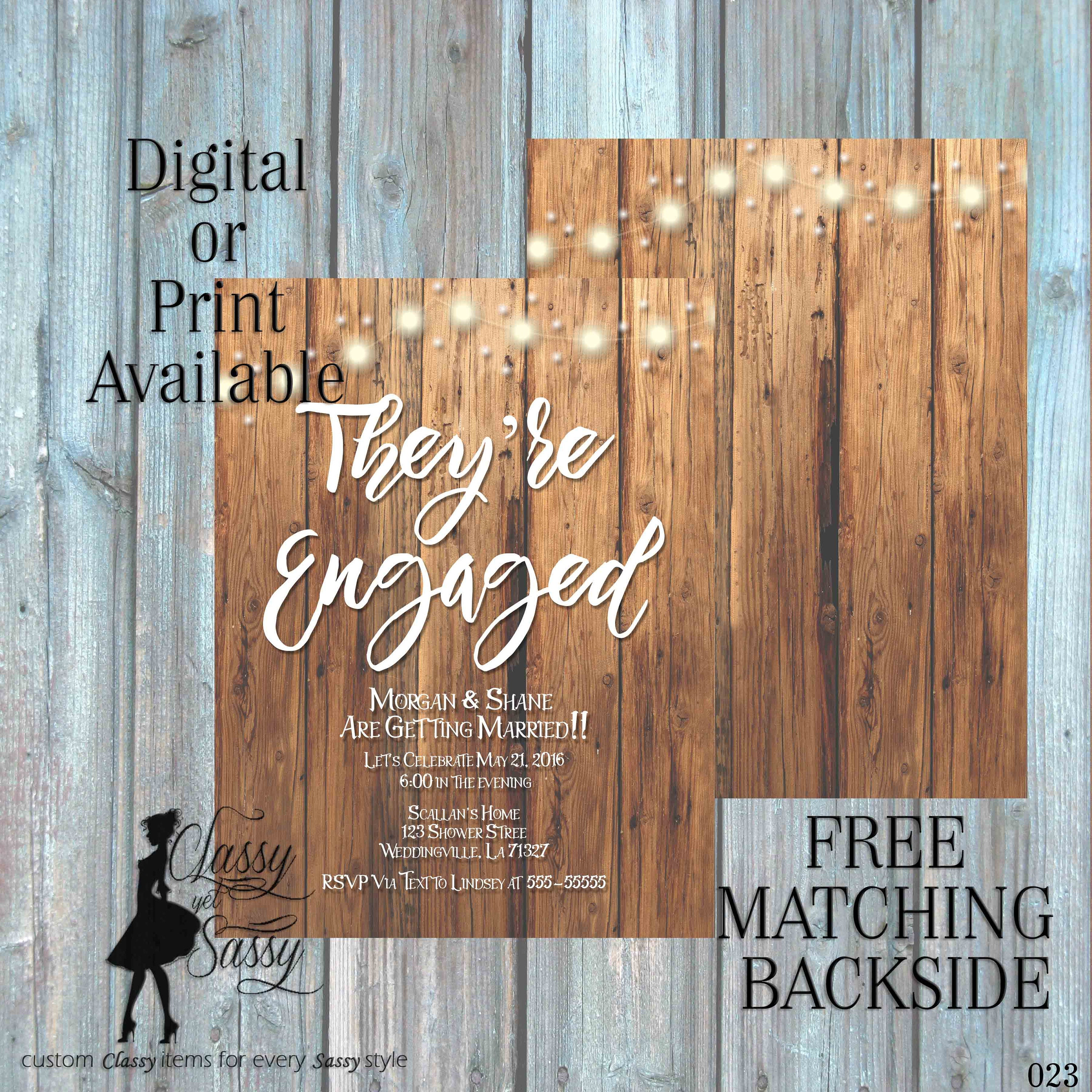 Engagment Party Invitation, Outdoor Shower Invitation, Rustice ...