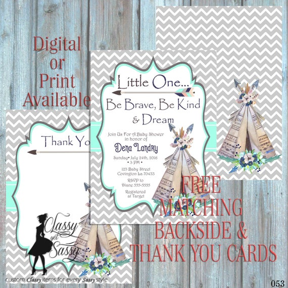 Little One Be Brave Boho Be Kind Baby Shower invitation, Tribal Invitation bohemian Shower, teepee Invitation, Luncheon boho invite 053