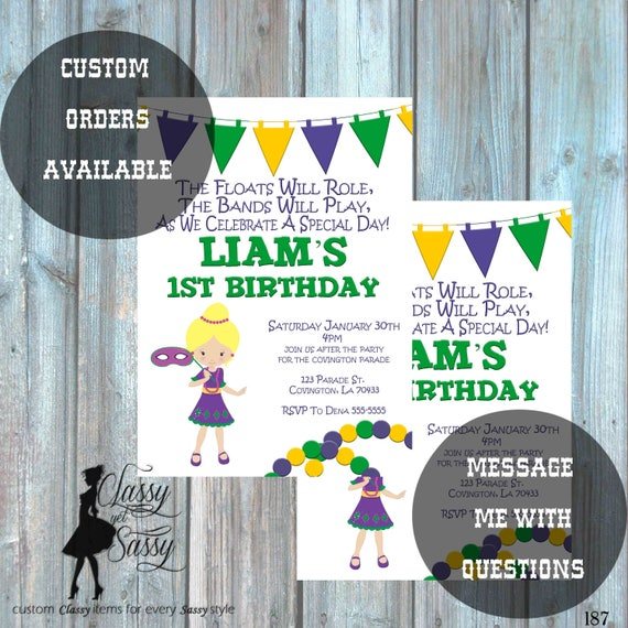 Mardi Gras Birthday Party Invitation, Mardi Gras Party, Parade party,  New Orleans Baby, New  -188