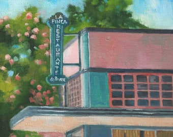 La Finca Restaurant, cityscape oil painting by Marlene Lee