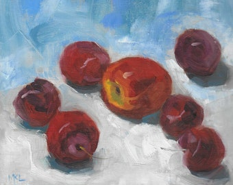 A Nectarine and Cherries, oil painting, fruits art, kitchen art, wall decor by Marlene Lee