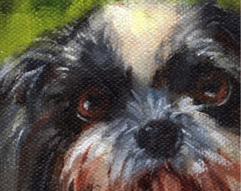 Miniature Dog Oil Portrait, doll sized, 3 x 3 inches