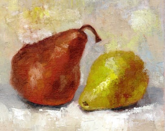 Brown and Green Asian Pears oil painting, still life, fruit paintings, 8x8 inches on canvas panel, wall decor