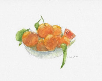 Watercolor of a bowl of Tangerines, kitchen decor