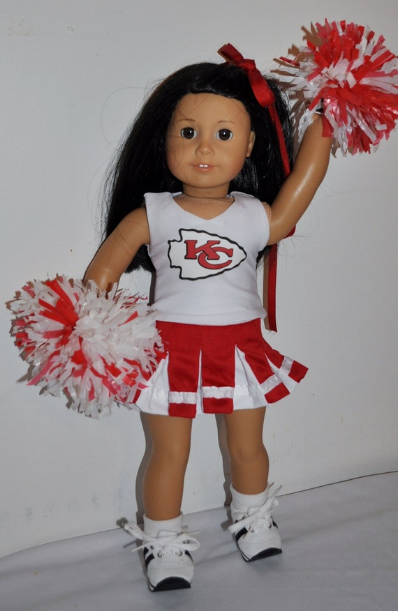"""Personalized Cheerleader Outfit Set for Girl 18/"""" Doll red made in America"""