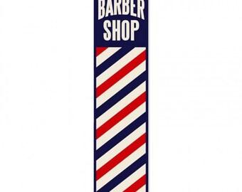 """Vintage metal sign, striped barber shop sign, barber shop sign, shave, man cave,barber shop pole sign 5"""" x 20"""""""