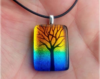 Black Amber White Dichroic Glass Pendant Fused Glass Jewelry Necklace Included Tree of Life Pendant A10