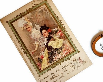Beautiful Antique Edwardian Postcard, Vintage Birthday Card Printed in Germany