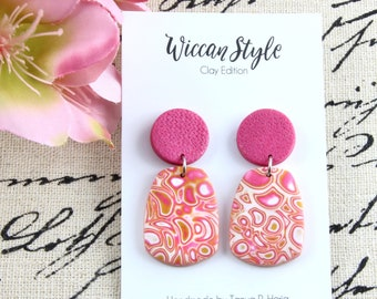 Pink Blossom - Dangle Statement Polymer Clay Earrings