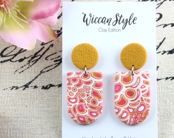 Pink Blossom - U shaped Statement Polymer Clay Earrings