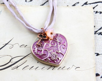 Key to my Heart - Polymer Clay Silk Necklace