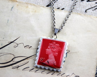 Authentic Old UK Postal Stamp - Red 8p - Polymer Clay Stainless Steel Necklace
