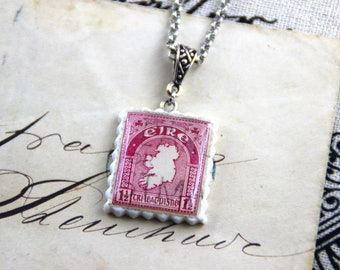 Authentic Old Ireland Postal Stamp - Pink - Polymer Clay Stainless Steel Necklace