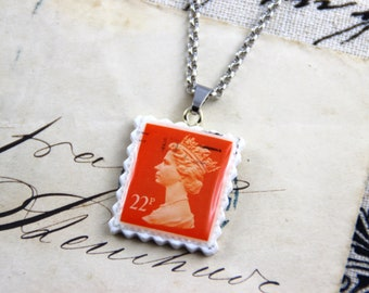 Authentic Old UK Postal Stamp - Orange 22p - Polymer Clay Stainless Steel Necklace
