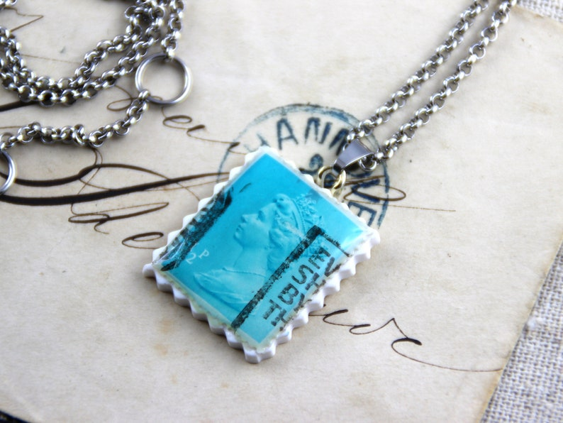 Turquoise 12p Polymer Clay Stainless Steel Necklace Authentic Old UK Postal Stamp