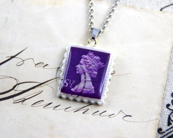 Authentic Old UK Postal Stamp - Purple 5 1/2p - Polymer Clay Stainless Steel Necklace
