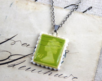 Authentic Old UK Postal Stamp - Olive 56p - Polymer Clay Stainless Steel Necklace