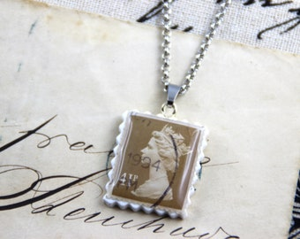 Authentic Old UK Postal Stamp - Khaki 41p - Polymer Clay Stainless Steel Necklace