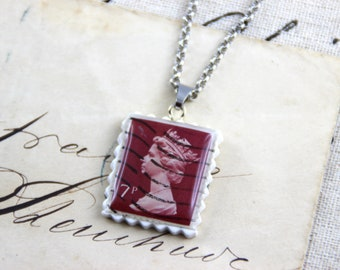 Authentic Old UK Postal Stamp - Chocolate 7p - Polymer Clay Stainless Steel Necklace