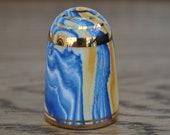 Vintage china thimble - Bouchet agateware - Blue - Orange - White