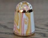 Vintage china thimble - Bouchet agateware - Orange - Pink - White