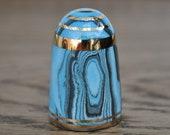 Vintage china thimble - Bouchet agateware - Blue - Black - White