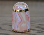 Vintage china thimble - Bouchet agateware - Pink - Lilac - Orange