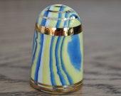Vintage china thimble - Bouchet agateware - blue - yellow - white