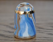 Vintage china thimble - Bouchet agateware - Blue - Brown - White