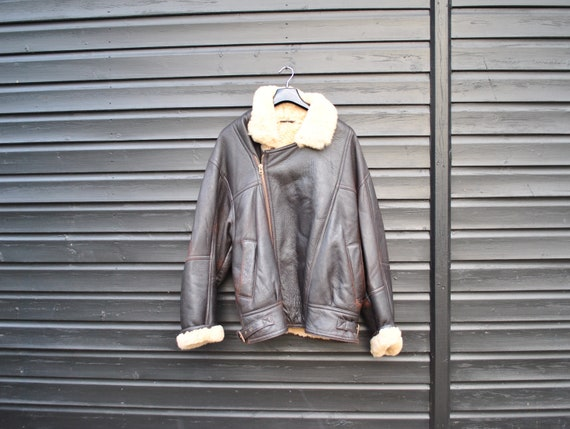 Vintage brown leather and sheepskin jacket