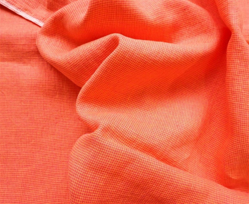 Pure  linen fabric with  bright HOUNDTOOTH in salmon color--natural fabric--soft--apparel--bright salmon colors