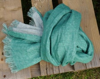 Linen double face  Scarf--Natural--Vintage--Soft--Green & natural light color