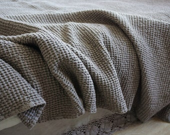 Linen Blanket Heavy Taupe Color Waffle Weaving Stonewashed Linen Throw/ Bed cover/ Linen Blanket. Big size